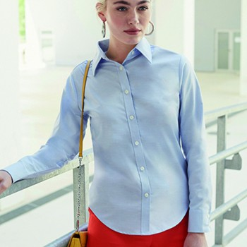 Fruit of the Loom Lady-Fit Long Sleeve Oxford Shirt